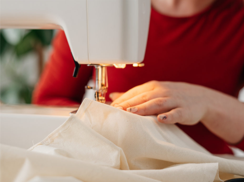 bag designs are printed then constructed with sewing machines
